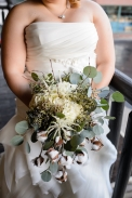 textures of cotton, silver dollar eucalyptus, privet, astilbe, hydrangeas, and scabiosa. true perfection.